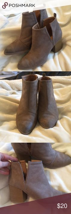 Cut out ankle booties Adorable suede booties. Been worn about 4 times. No major sign of wear. Only the bottoms of the soles have some wear. ❌NO TRADES Qupid Shoes Ankle Boots & Booties