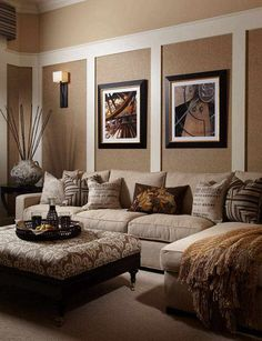 elegant living room design brown beige colors ottoman wall paintings