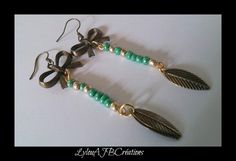 """Jolies Boucles d oreilles """" Petits noeud et plumes """" perles de rocaille verte et or : Boucles d'oreille par lylou-ajb-creations"""