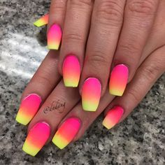 Neon Pink and Yellow Ombre Nails.