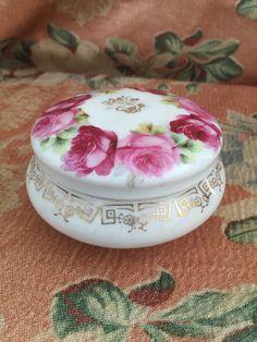 Vintage Victorian Roses Vanity Jar  by GypsysClosetVintage on Etsy