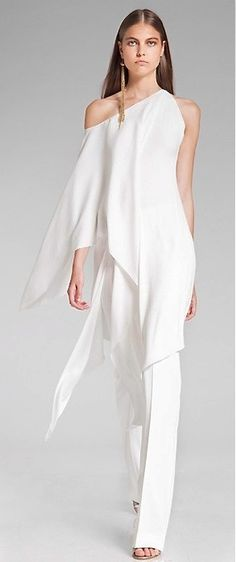 White Pantsuit From Donna Karan Resort 2014