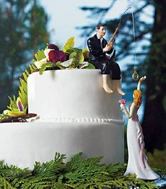 """""""Hooked on Love"""" Fishing Groom & Reaching Bride Cake Topper (Custom Hair Colors) - Funny Wedding Cake Toppers"""