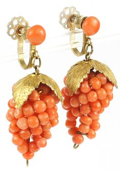 Victorian Gold Leaves and Coral Grapes Pendant Screwback Earrings