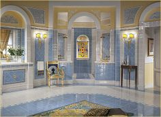 Luxor Collection - Versace Home Tiles and Furnishing Accessories Blue Decor, Traditional Bathroom Tile, Versace Mansion, Gold Home Decor, Home, Decor Interior Design, Versace Home, Versace Tiles, House Tiles
