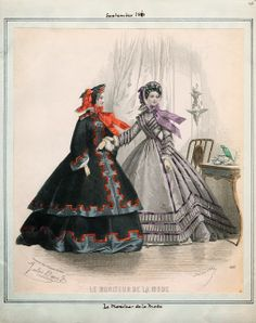 (Moniteur de la Mode, September 1861) Right: Silk, high/jewel neck, round waist, slim coat sleeves Left: Basque and skirt set, wool with silk trim, high/jewel neck, open coat sleeves