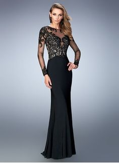 Sheath/Column Scoop Neck Sweep Train Jersey Evening Dress With Beading Appliques Lace