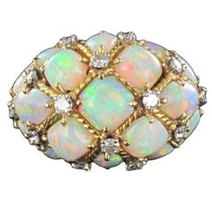 Magnificient Opal Diamond Gold Domed Ring 1 #opalsaustralia
