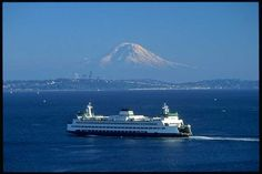 Bremerton-Seattle ferry on Puget Sound with Mount Rainier in the background. I love it here!