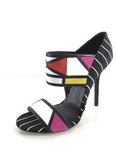 6649e15e1c83 L3 NEW Aperlai Akara Multicolor Leather Suede Open Toe Pump Women s Sz 38.5  M