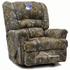 New York Rangers NHL Big Daddy Camo Microfiber Rocker Recliner. Visit SportsFansPlus.com for discount coupon.