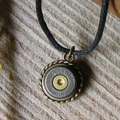 Shell Pendant WOLF 45 Auto - Necklace  J23 by RusticSpoonful on Etsy