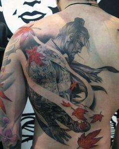 Japanese Samurai Tattoo Sleeve For Men On Back