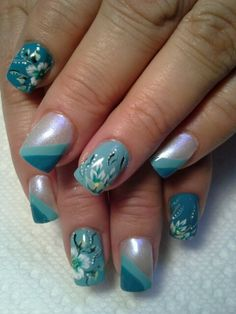 Teal French manicure, Short Nails     Nails Art   Nails Design