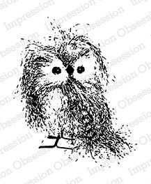 Feathery Owl - The wood mounted item measures 2.75 x 3.25 inches. The actual image size is approximately 1/4 inch less in both width and length.