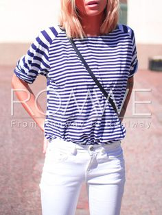 Blue White Round Neck Striped T-shirt Mobile Site