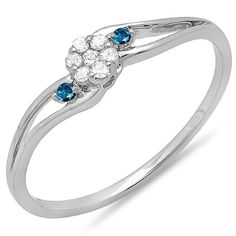 0.10 Carat (ctw) 14k White Gold Blue Diamond Bridal Swirl Split Shank Cluster Promise Ring 1/10 CT -- Check out this great image  : Promise Rings
