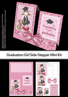 "Graduation Girl Side Stepper Mini Kit on Craftsuprint designed by Sarah Edwards - A bright and cheerful side-stepper card made from two sheets, of a girl celebrating her graduation with her pet dog. The right side of the design says ""Congratulations on your graduation""There is a panel on the back of the card for you to write your message to the recipient.The second sheet includes instructions on how to make the card, pyramid layers, a decoupage layer for the bow and various sentiment ..."