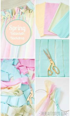 Easy Spring Backdrop with Tablecloths -  Would be pretty in your range of colors from soft green to the vibrant blue of your necklace.  and easy too, if you're going to have a photo backdrop.