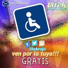 ¡Ven por la tuya completamente GRATIS! Sólo tienes que presentar la credencial que te da el derecho de usar estos estacionamientos!  siempre pensando en ti y en respetar el espacio que te mereces! #Litek #ExpertosEnImpresión #PiensaRojo