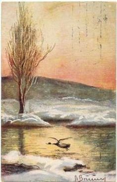 Postkort sig. A BRUUN (?) Gås letter fra vann Utg J.H.Küenholdt.