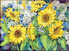 Sunflowers! Beautiful backsplash for behind a stove.