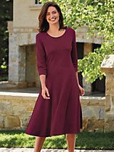 Gloria Knit Dress - A round neck gives way to an A-line shape with front and back princess seams. Petite Dresses Casual, Petite Outfits, Modest Dresses, Modest Outfits, Plus Size Dresses, Dresses With Sleeves, Summer Dresses, Petite Clothes, Classic Dresses