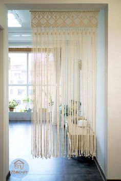 Macrame Curtain, Macrame Cord, Door Shades, Bohemian Tapestry, Cotton Rope, Dream Rooms, Dressing Room, Window Treatments, Curtains