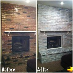 DIY white washed brick fireplace Did this last night after putting baby to bed Very easy Items needed white latex paint water paintbrush and a rag Dilute paint with water. Fireplace Remodel, Home, White Wash Brick, White Wash Brick Fireplace, White Wash, White Brick Walls, Fireplace Decor, Red Brick Fireplaces, Fireplace