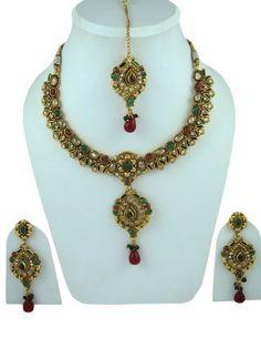 Traditional Bridal Jewelry Set Red Green Stone Kundan Polki Necklace Earring Maang Tikka Sets Mogul Interior, http://www.amazon.com/dp/B009PXJUYK/ref=cm_sw_r_pi_dp_5HM4qb0CEFEDN