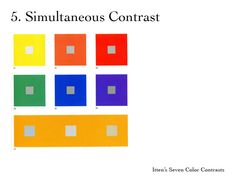 Simultaan contrast: de grijze blokjes zijn allemaal hetzelfde, maar door de kleur ernaast lijkt het lichter of donkerder.