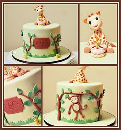 Cute giraffe cake! I want this for Izaiah s first bday cake