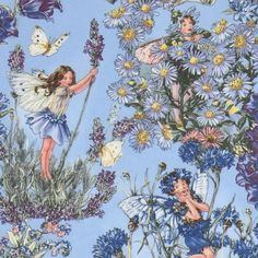 Michael Miller fabric Periwinkle Fairies blue fairy  cute blue fabric with flower fairies and blue flowers from the USA