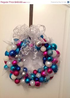 ON SALE Ornament Wreath / Spring Wreath/ Door Wreath/ Pink, blue, silver and white Wreath/Easter Wreath
