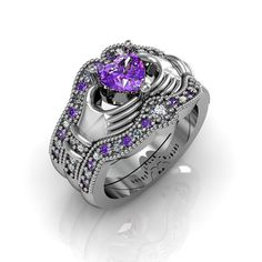 Claddagh Ring - Amethyst Sterling Silver Claddagh Love and Friendship Engagement Ring Trio Set
