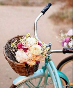 Flowers in bike basket