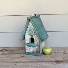Shabby Chic Birdhouse Aqua and White Birdhouse by Milepost7, $39.00