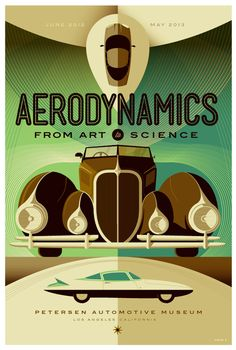 Petersen Automotive Museum: Aerodynamics Poster    1996 GM EV1 (top), a 1938 Delahaye Type 135M Competition Roadster (middle), and a 1955 Ghia Gilda (bottom)    Illustration by Tom Whalen