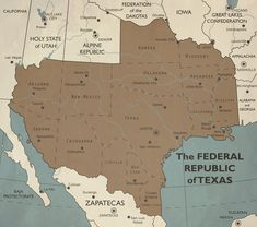 In this timeline the USA balkanized after its failure to defeat the Worker's Republic of Quebec in the war of By 2013 things look pretty different . Federal Republic Of Texas Alternate Worlds, Alternate History, Historical Maps, Historical Pictures, Revolution Tv Show, Imaginary Maps, Patriotic Pictures, Republic Of Texas, Chicago City