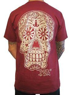 """Men's """"Sugar Gang"""" Tee by Index Ink (Brick Red) #InkedShop #tee #sugarskull #menswear"""