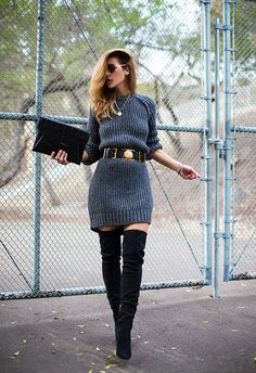 Street style sweater dress and over the knee boots