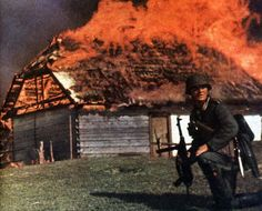 House on fire in Poland, 1939