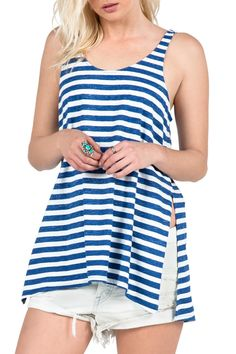"""Scoop back tank top with reverse printed stripe & swingy body with side step hem split to natural waist. Looks Super cute with jean shorts for an effortless style.  Length is 27""""Shoulder to hem.  Stripe Tees Tank by Volcom. Clothing - Tops - Tees & Tanks Canada"""