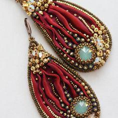 Royalty Beaded Shibori Earrings by ZuziHake Ribbon Jewelry, Bead Embroidery Jewelry, Soutache Jewelry, Silk Ribbon Embroidery, Fabric Jewelry, Beaded Earrings, Jewelry Crafts, Jewelry Art, Beaded Jewelry