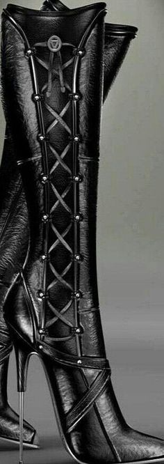black lace up spiked heel knee high boots #UNIQUE_WOMENS_FASHION