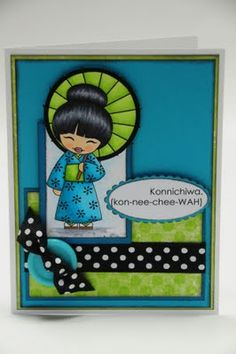 handmade card from Artistic Detours ... modern look ... Asian theme ... kimono girl with parasol ... turquoise and chartreuse with black mats, ribbon and ink ... luv it!