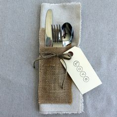 Cotton Place Mat with Attached Burlap Silverware Holder Set of 4
