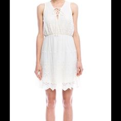 """Sale! Sadie & Sage Abigail Dress, size L New with tags Sadie & Sage """"Abigail Dress"""", size L, 50% NYLON 50% COTTON. Ivory, sheer back, sleeveless mini with embroidered lace detail, and lace up v-neck Sadie & Sage Dresses Mini"""