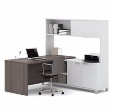 Pro-Linea L-Desk w/ hutch in White & Bark Gray - Bestar has all the elements to create a modern and refined work environment. The clean lines of this collection bring a fresh look without compromising functionality and durability. L Desk, Diy Computer Desk, Desk Hutch, Business Furniture, Office Furniture, Door Furniture, Furniture Movers, Furniture Design, Modern L Shaped Desk