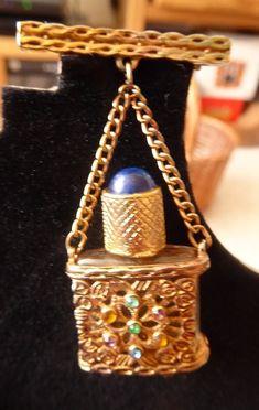 Vintage+perfume+bottle+brooch+pin+scent+bottle+brooch+1930s+
